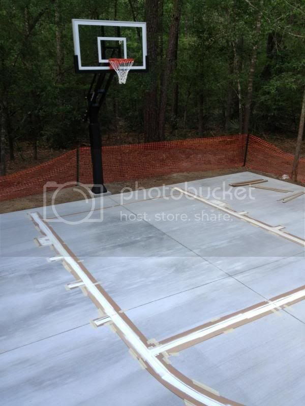 Before & After Pics of new backyard Basketball Court